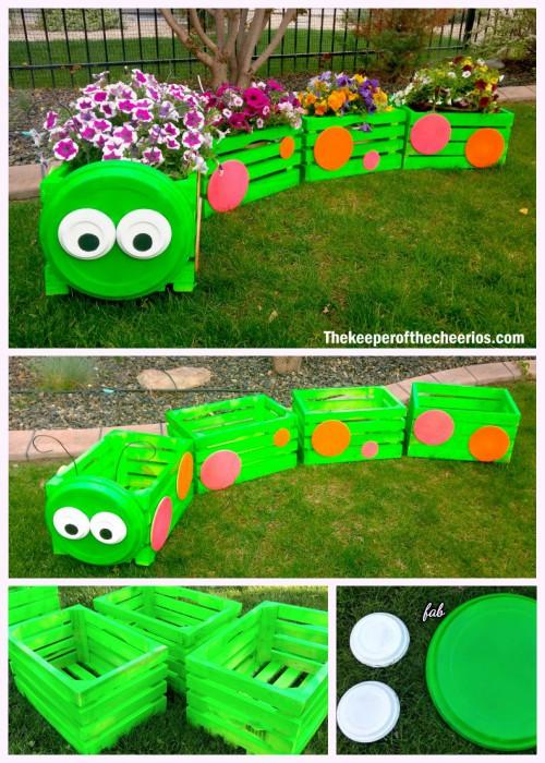 DIY Caterpillar Wood Crate Train Planter Tutorial with Video