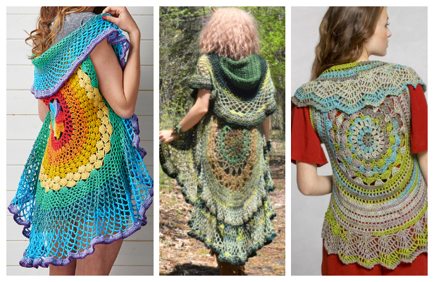 Lady's Circle Mandala Vest Free Crochet Patterns