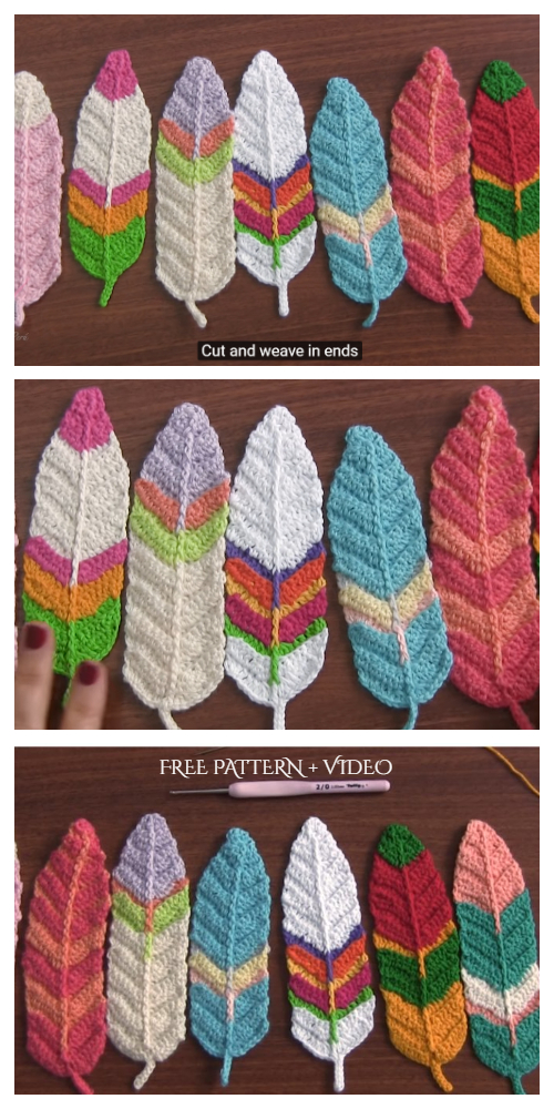 Reversible Feathers Free Crochet Patterns + Video