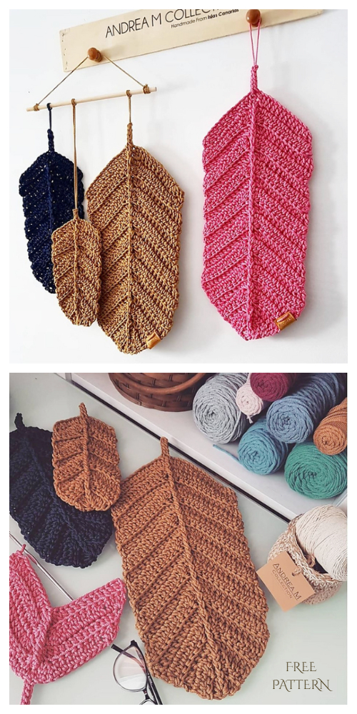 Large Reversible Feather Wall Hanging Free Crochet Pattern