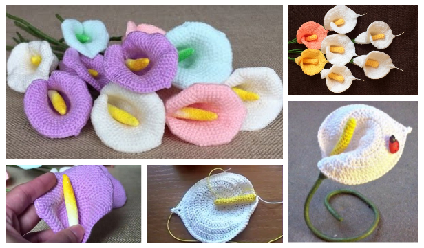 Calla Lily Flower Free Crochet Patterns + Video