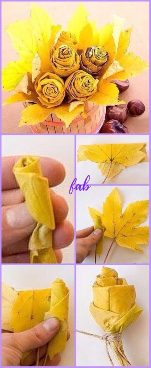 DIY Fall Maple Leaf Rose Flower Bouquet Tutorial