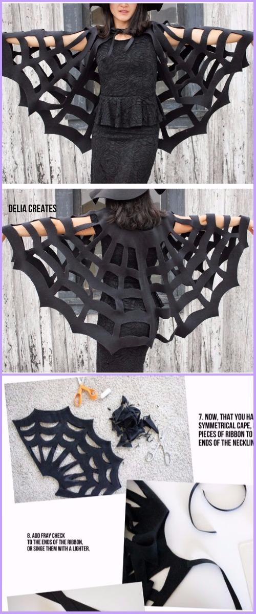 DIY No Sew Spiderweb cape Tutorial