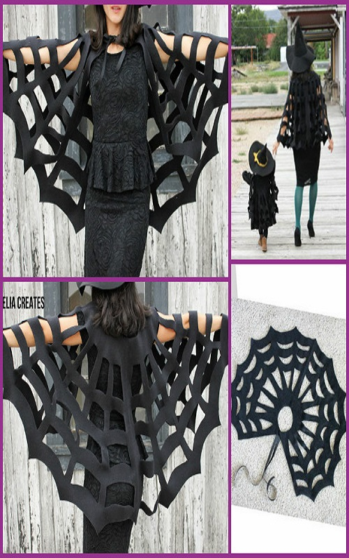 DIY No Sew Halloween Spiderweb cape tutorial