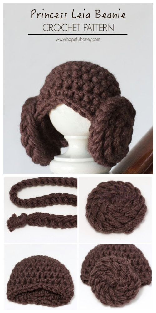 Crochet DIY Princess Leia Beanie Hat Free Crochet Pattern
