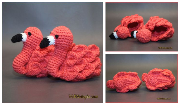 Crochet Flamingo Feet Baby Booties Free Pattern-Video