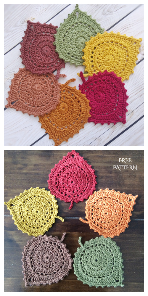 Leaf Coaster Free Crochet Patterns