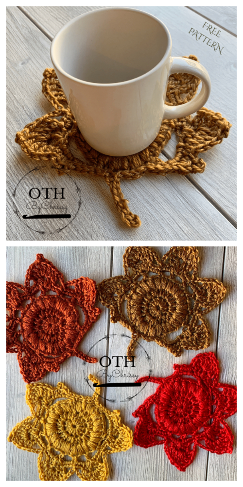Fall Leaf Coaster Free Crochet Patterns