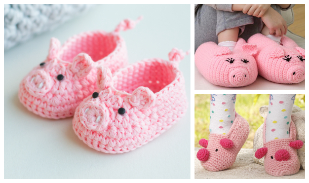 Pig Booties Slippers Free Crochet Patterns