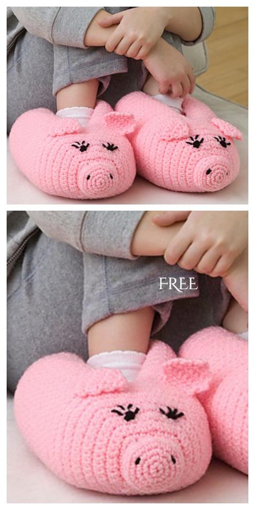 Pig Slippers Free Crochet Patterns