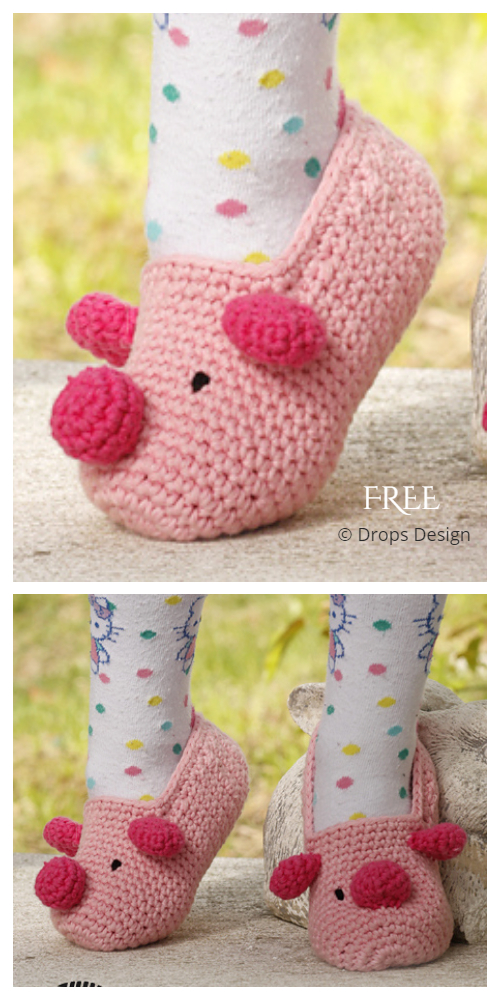 Miss Piggy Slippers Free Crochet Patterns - All Sizes