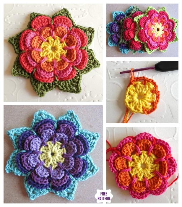 Crochet 3D Layered Flower Free Crochet Pattern