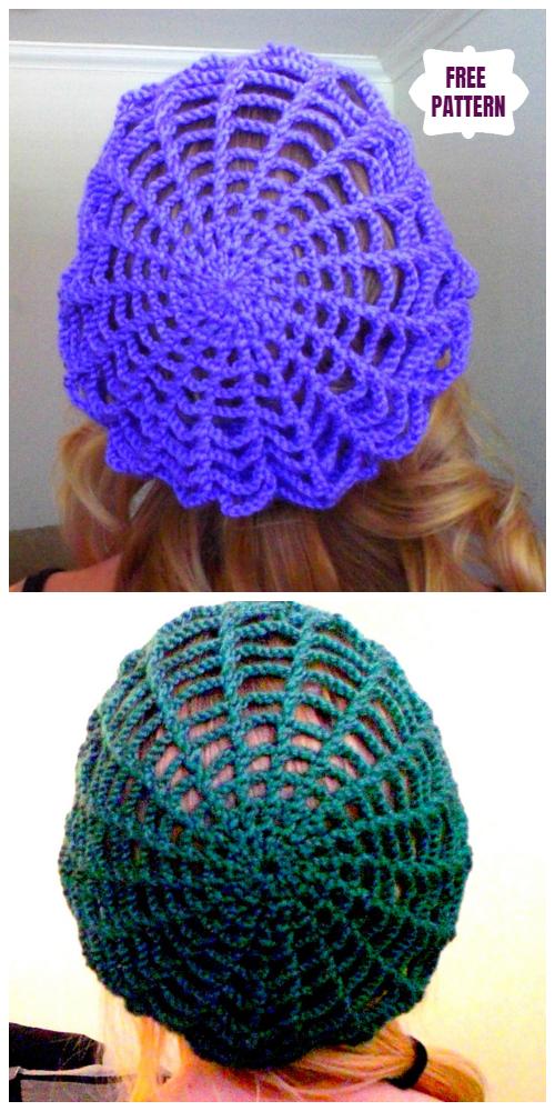 Crochet Spider Web Slouchy Hat Free Crochet Pattern