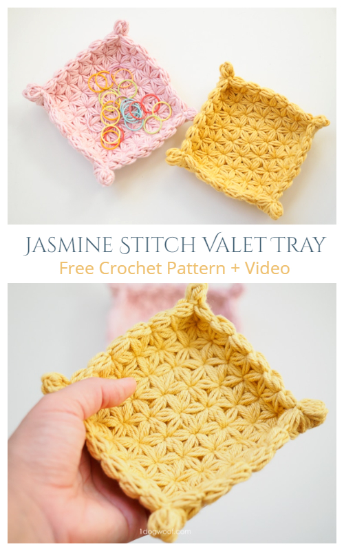 Jasmine Star Stitch Valet Tray Free Crochet Pattern + Video
