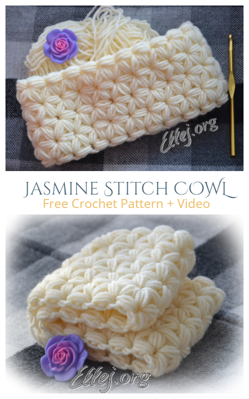 Jasmine Star Stitch Cowl Free Crochet Pattern + Video