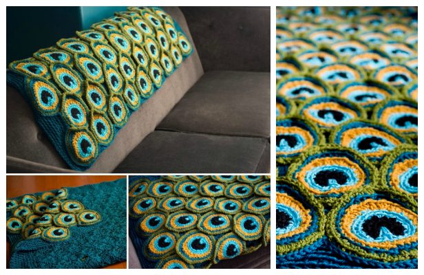 Peacock Feather Motif Free Crochet Patterns
