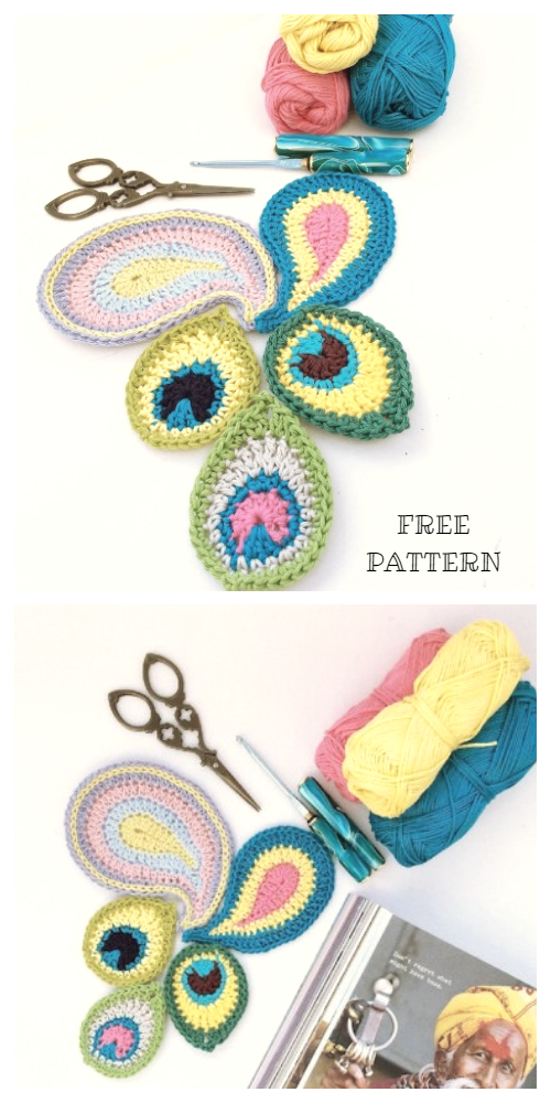 Crochet Peacock Feather Motif Patterns - Crochet Peacocks and paisleys Free Patterns
