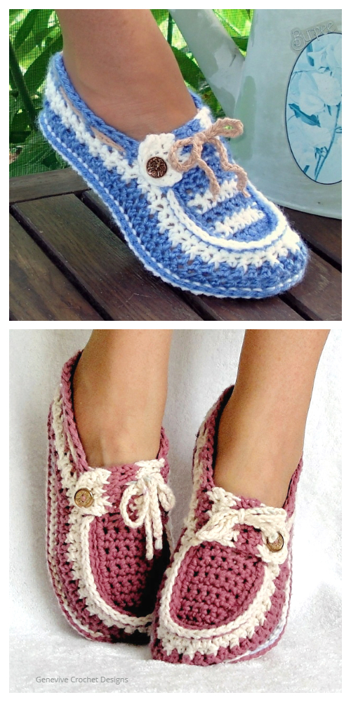Adult Button Loafer Slippers Crochet Pattern