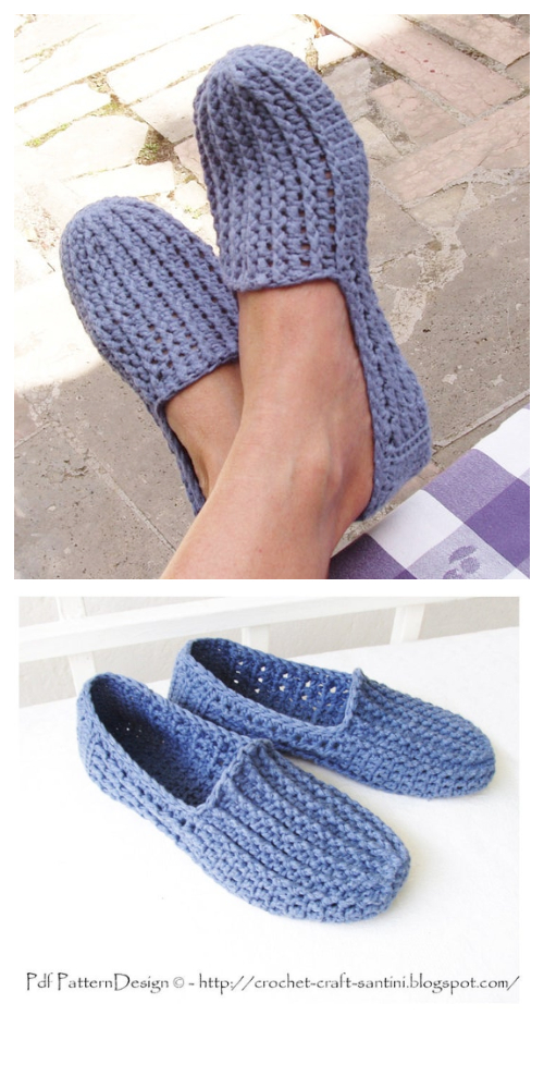 Denim Ribbed Loafers Crochet Pattern