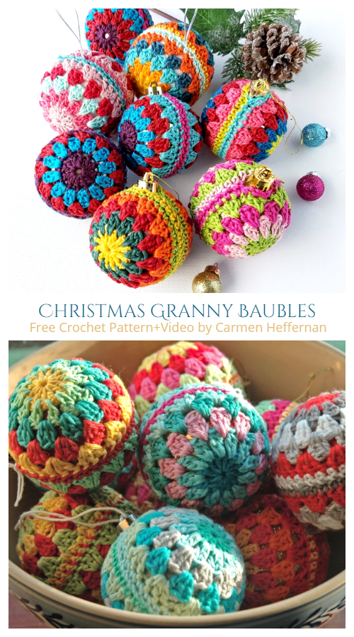 Christmas Granny Baubles Ornament Free Crochet Patterns