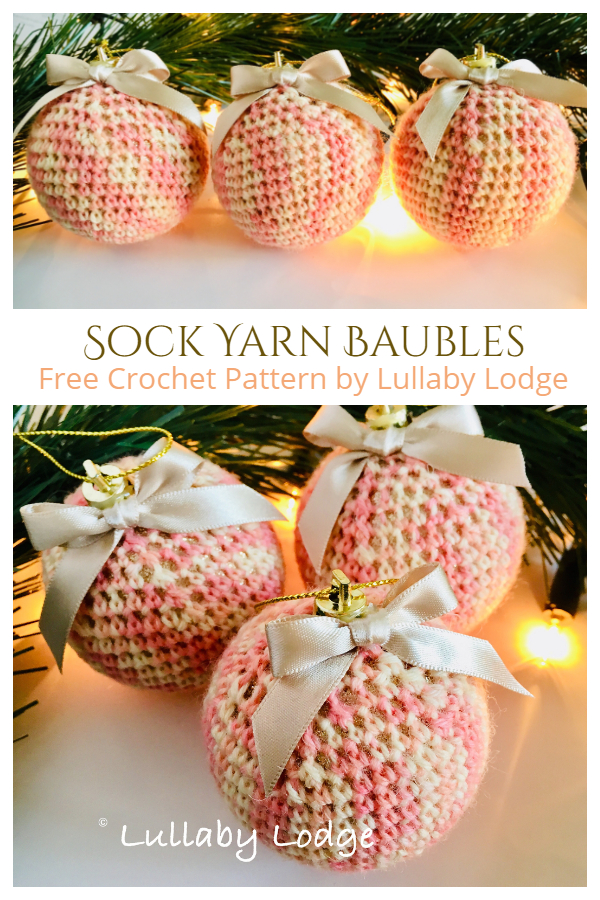 Sock Yarn Baubles Ornament Free Crochet Patterns