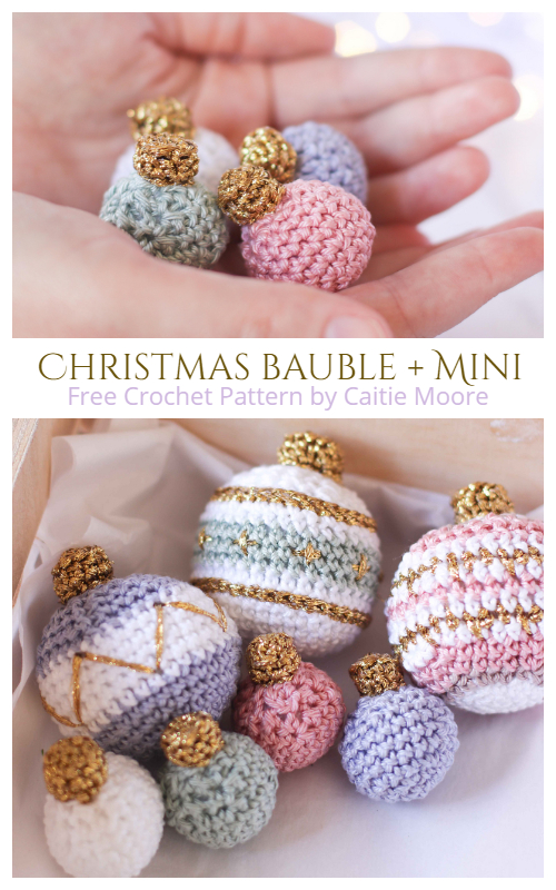 Christmas Bauble Ornament and MInis Free Crochet Patterns