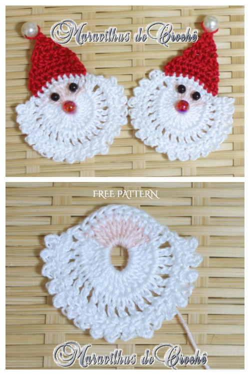 Christmas Santa Face Applique Free Crochet Patterns