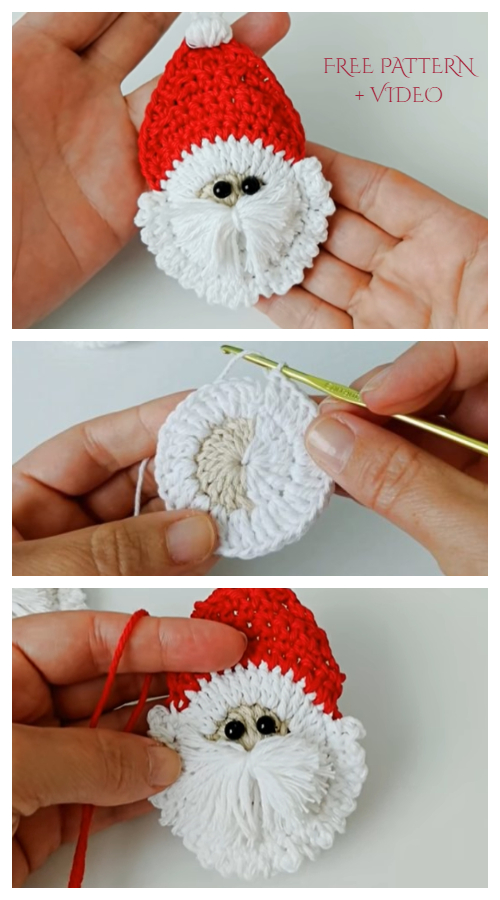 Christmas Santa Face Applique Free Crochet Patterns + Video