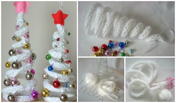 DIY Knit Crochet I Cord Christmas Tree with Ornaments