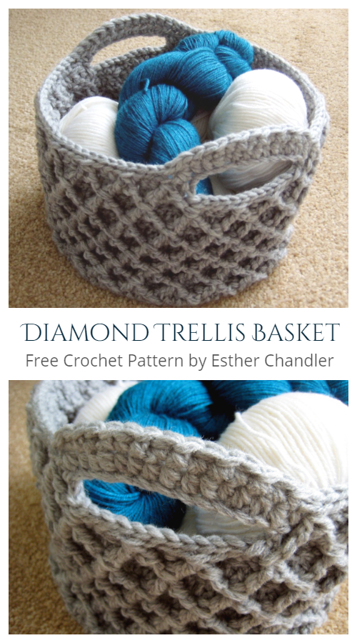 Round Diamond Trellis Basket Free Crochet Patterns