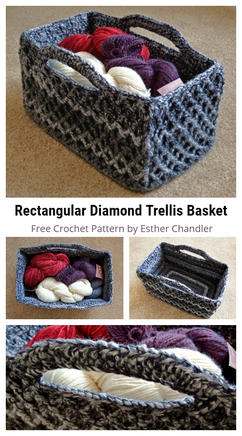 Rectangular Diamond Trellis Basket Free Crochet Patterns