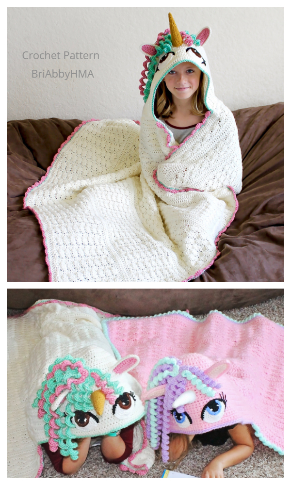 Hooded Unicorn Blanket Crochet Patterns