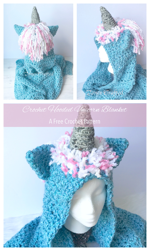 Hooded Unicorn Blanket Free Crochet Patterns