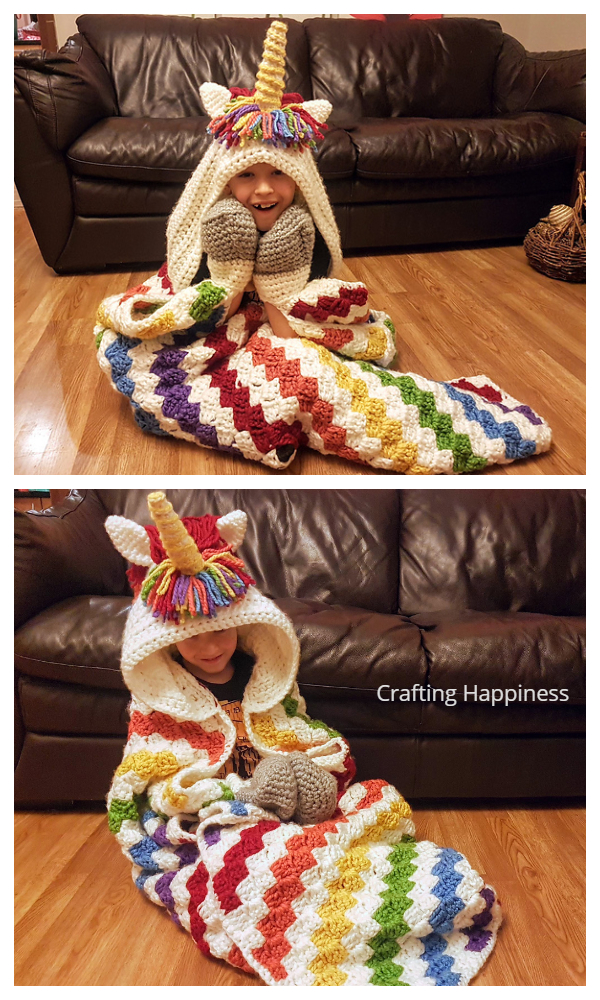Rainbow Unicorn Hooded Blanket Crochet Patterns
