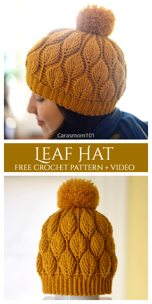 3D Leaf Stitch Hat Free Crochet Patterns + Video