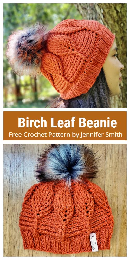 Birch Leaf Beanie Free Crochet Pattern