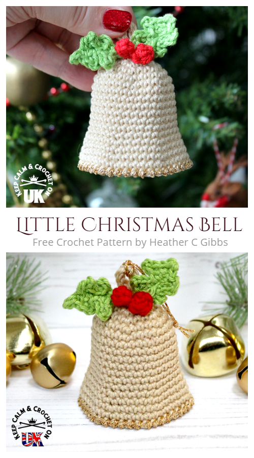Little Christmas Bell Tree Ornament Free Crochet Pattern