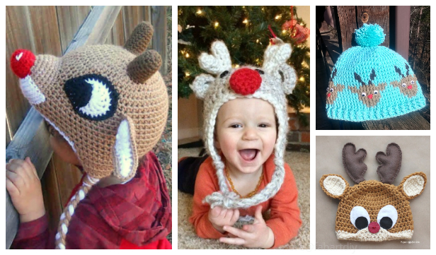 Christmas Reindeer Hat Free Crochet Patterns