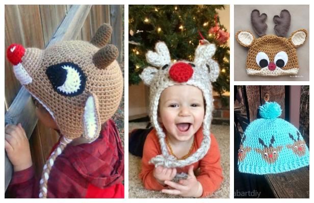 Christmas Reindeer Hat Free Crochet Patterns