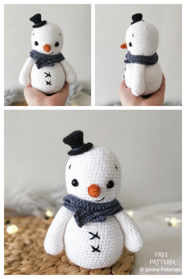 Crochet Lennie the little snowman Amigurumi Free Patterns