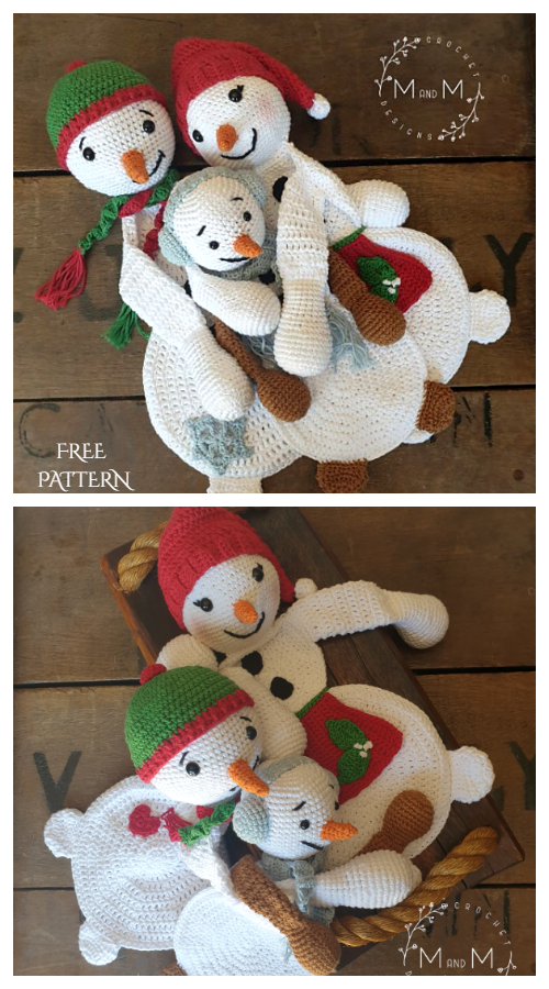 Crochet Melly Teddy Ragdoll Snowman Family Amigurumi Free Patterns