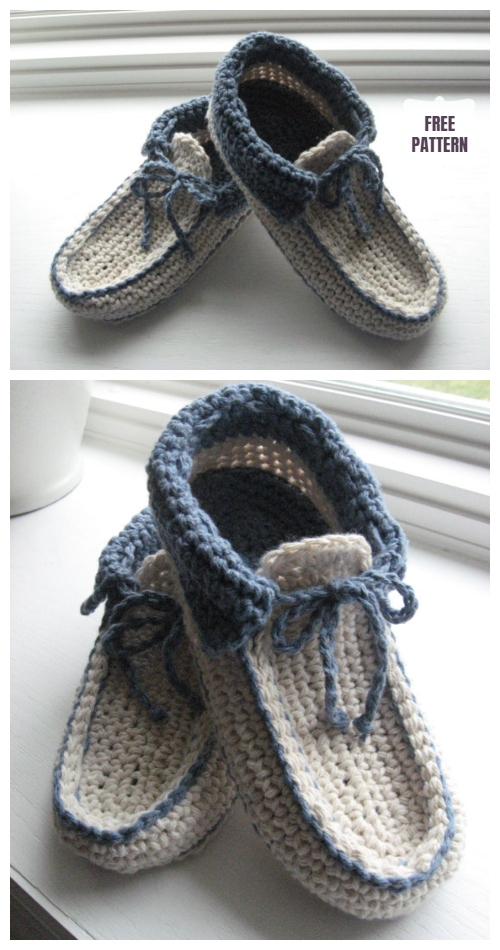 Adult Moccasin Slipper Shoes  Crochet Patterns - Crochet Cozy Slipper Pattern