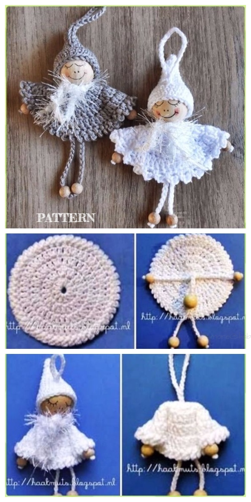 Crochet Bead Angel Ornament Free Pattern