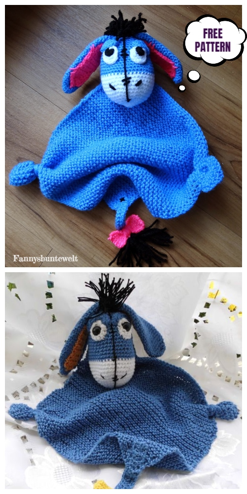 Crochet Eeyore Blanket Buddy Amigurumi Free Patterns