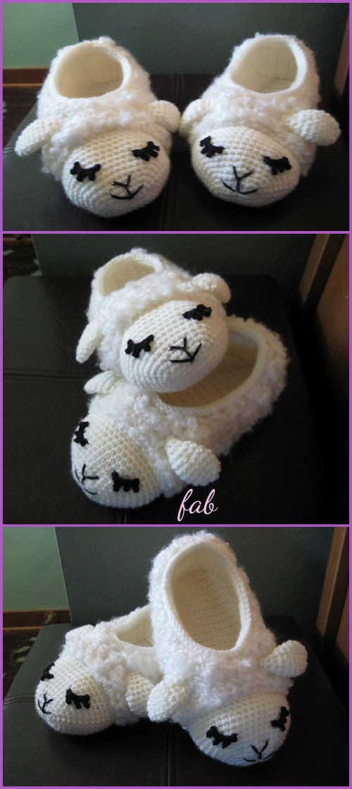 Crochet Sheep Slipper Booties Free Patterns-Crochet Sheepy Slippers Free Pattern