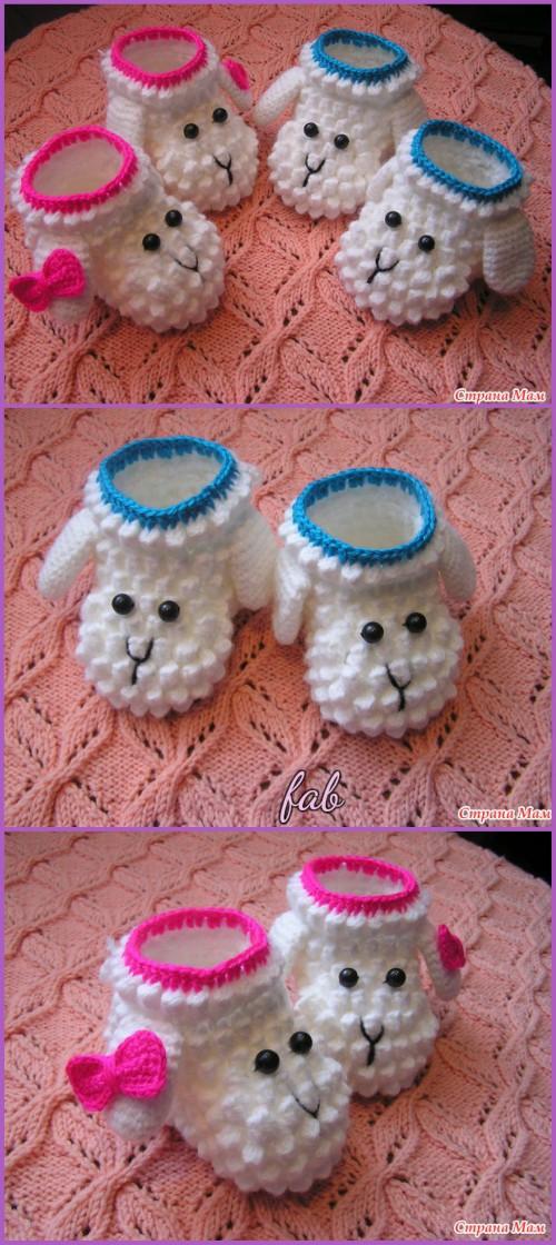 Crochet Sheep Slipper Booties Free Patterns-Crochet Bobble Sheep Slippers Free Pattern&Video