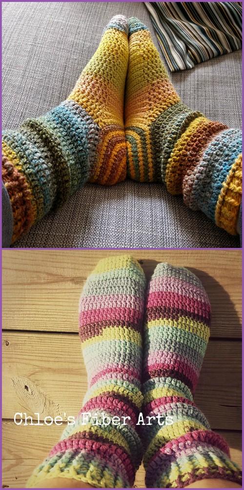Crochet Spiral Socks Boots Free Pattern