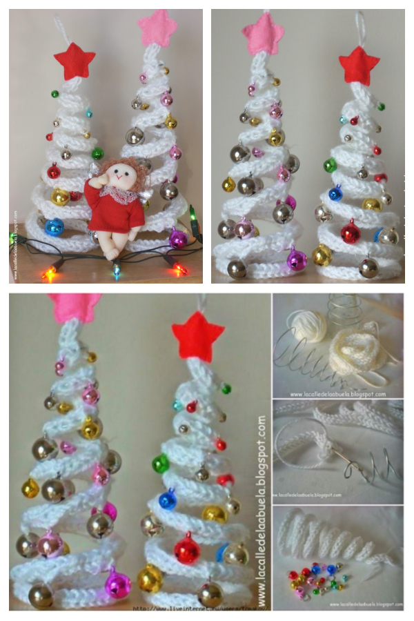 DIY Knit Crochet I-Cord Christmas Tree with Ornaments Free Patterns