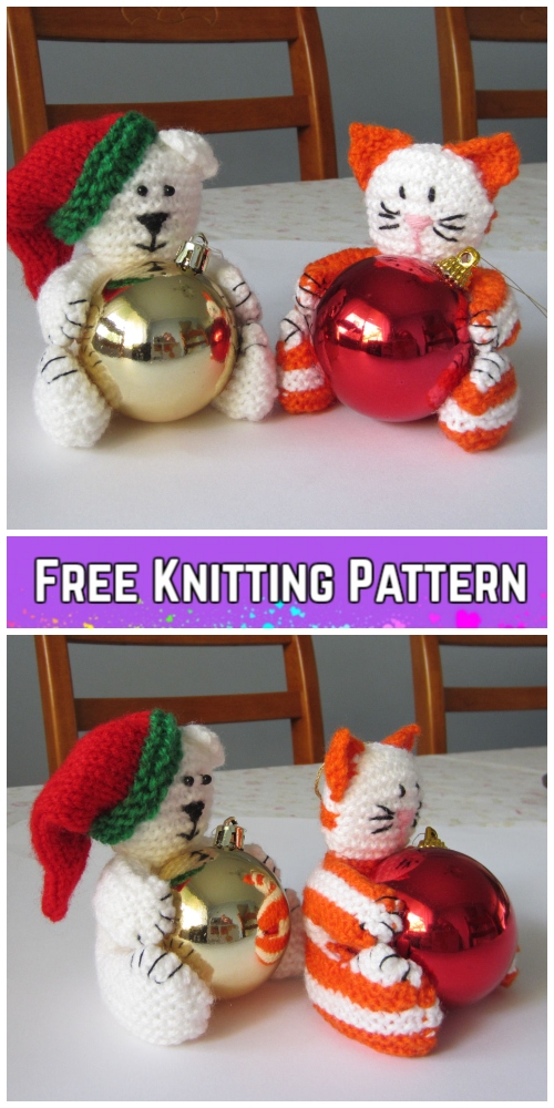 Knit Christmas Bear & Cat Bauble Ornament Free Patterns