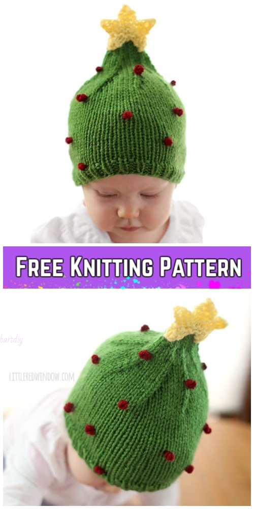 Knit Christmas Tree Hat Free Patterns